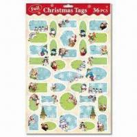 China Christmas Present Tags with 36 Pieces Per Sheet wholesale