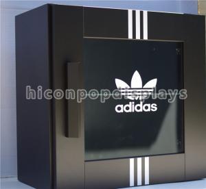China Footwear Shop Pop Merchandise Displays Black Wood Shoes Display Case With Brand Logo wholesale