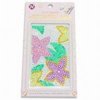 China Mobile Phone Sticker, Made of Acrylic Beads without Glue, Measures 6.1 x 3.2x 0.1-inch wholesale