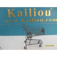 Quality Custom Metal Shopping Carts for groceries with front advertisement for sale