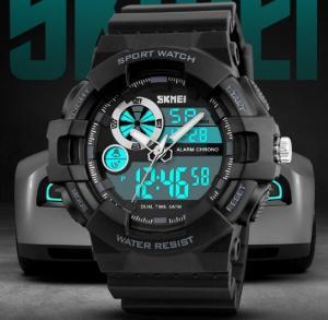 China Skmei Men Multifunction Dual Time Chrono Alarm Alarm 5 ATM Outdoor Camping Pu Strap Wrist Watches 1312 wholesale