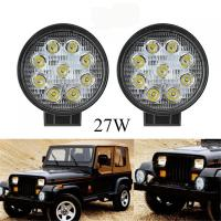 27W Round Vehicle LED Work Lights DC 9-30V 1620 Lm Lumens , Stainless Steel Bracket
