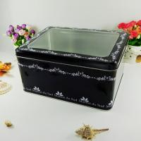 China Black Metal Tin Container With Silver Bottom Tranparent Window wholesale