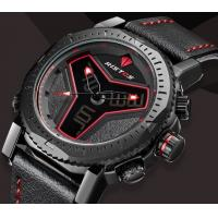 Buy cheap RISTOS Creative Men Dual Time Genuine Leather Band Waterproof 30m Racing Sport from wholesalers