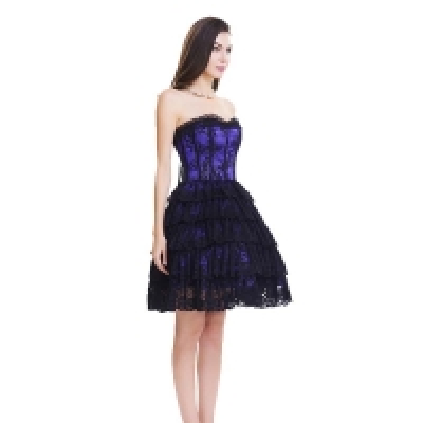 Custom Purple Lace Steel Bone Corset Dress side