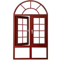 China Arched Aluminium Casement Windows Soundproof Wood Grain Powder Coated Grilled Design wholesale