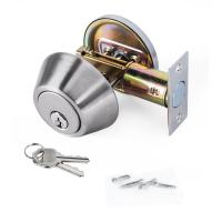 China High Security SUS304 Single Cylinder Deadbolt Door Locks Plated Nickel Finish wholesale