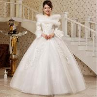 China High Neck Princess Diamond White Cotton Wedding Dresses with Invisible Zipper wholesale