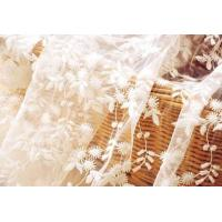 China White Flower Embroidered Nylon Mesh Lace Fabric , Wedding Bridal Dress Lace Fabric wholesale
