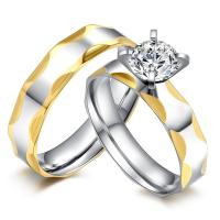 China Jewelry fashion women diamond wedding ring with 18K white gold plated 316L stainless steel bands wholesale