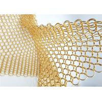 Quality 1.5MM Dia 15mm OD Gold Colored Steel Ring Mesh Dexhibition Halls Divider for sale
