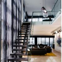 China European classic stair black wood steel staircase with patch fitting glass railing wholesale
