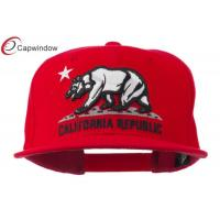 China California Republic Classic Acrylic Snapback Baseball Caps , Plastic Snap Closure Flat Bill Hat wholesale