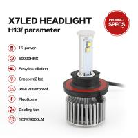 China High Power Super White color LED Car Headlight Bulbs X7 H13 Cree Chips 80W on sale