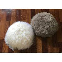 Long Hair Round Mongolian Fur Pillow Light Grey Smooth With Shearling Sheep Fur