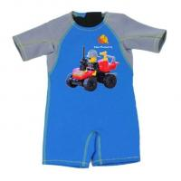 China Kid Jumpsuit Baby Wetsuit Bathing Suit 2mm Thermal Neoprene Swimwear with Car wholesale