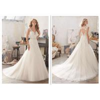 V - Neck A Line Style Wedding Dresses With Appliques Cathedral Train