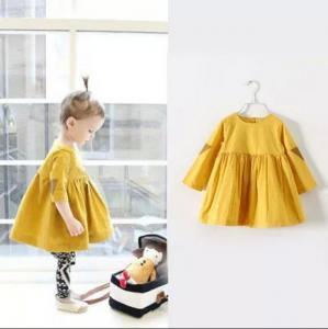 2016 Fashion Girl Colorful Kid's Dress long sleeve Yellow Dancing Dress Prince Style Q051