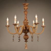 China Rustic wood and iron chandelier for indoor home Lighting (WH-CI-68) wholesale