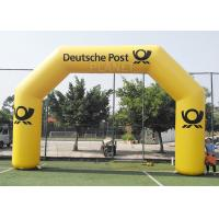 China 8.4m Commercial Full Printed PVC tarpaulin yellow color advertising inflatable archway for brand promotion wholesale