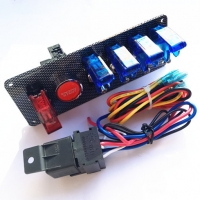 China 12V Racing Race 4 Blue& 1 Red LED Toggle Switch Button Panel Engine Start wholesale