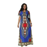 China Wax Printed African Print Womens Clothing , Short Sleeve African Print Maxi Dress wholesale