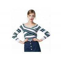China Sexy Lady Cozy Knit Sweater Long Sleeve V Collar Pullover With Striped Pattern wholesale