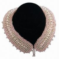 China Imitation Jewelry Pearl Beaded Collar/Beaded Mesh Trim Necklace, Used as Women's Garment wholesale