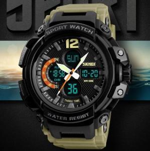 China Wholesale Fashion Three Time Men Pu Band Waterproof 50m Chronograph Alarm Outdoor Sport Wrist Watches 1343 wholesale