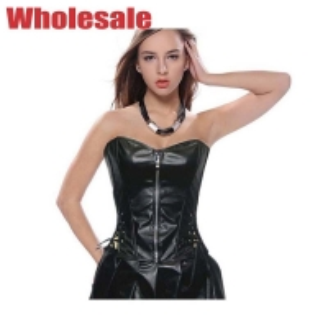 China Customized 3XL Black Leather Corset Dress Plus Size Ergonomic Design wholesale