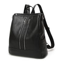 China Casual Womens Black Leather Backpack Multi Functional For Teenage Girls wholesale