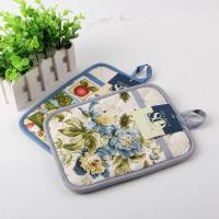 China Terry Cloth Cotton Kitchen Dual Useage Pot Holder / Kitchen Oven Mitts with Flower Printed wholesale