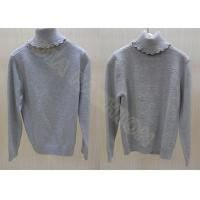 China Gray Cashmere Kids Holiday Sweaters Turtleneck Pullover For Girls , Snowflake Pattern wholesale