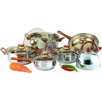 China Brown Bakelite Handle 10 PC Stainless Steel Cookware Sets with 2.5 L Kettle wholesale