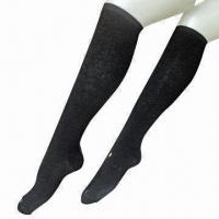 Ladies functional compression knee-high socks with selective terry