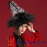 China Women Unique Dressy Church Hats With Black Net And White Feather wholesale