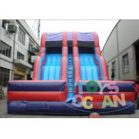 China Customizable Purple And Red Triple lane Inflatable Dry Slide For Kids Party Play wholesale