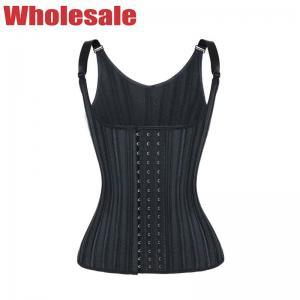 China Black 29 Steel Bones Waist Trainer Vest Hollow Breathable Waist Trainer Vest MHW100326B wholesale