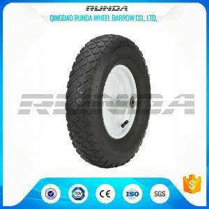 "China Blocky Patterns Pneumatic Rubber Wheels 2PR ,  Hand Trolley Wheels8"" Steel Rim wholesale"