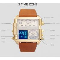 Quality Wholesale BOAMIGO New Creative Large Dial Three Time Leather Band Waterproof 30m Fashion Men Watches F920 for sale