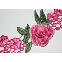 China 3D Flower Multi Colored Embroidered Lace Trim With High Color Fastness, Azo Free wholesale