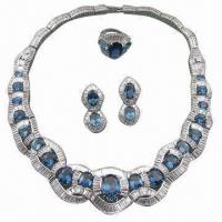China Sterling Silver Jewelry Set, Made of Cubic Zircon with Sapphire Semi-precious Stones, Silver Jewelry wholesale