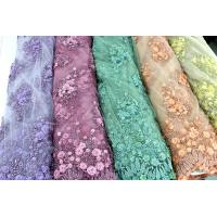 China Beaded Embroidered Mesh Lace Fabrics, 3D Floral Lace Fabrics For Evening Dresses wholesale