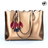China Factory new design tote ladies bag golden color woman beach handbag handmade tote leather bag wholesale
