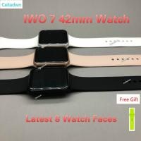 China wholesaSmart Watch IWO 7 Heart Rate 1:1 42mm Smartwatch Wireless Charge Bluetooth Music Watch For iOS Android VS IWO 5 6 on sale