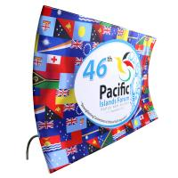 China Curved Pop Up Fabric Banner , Aluminium Silver Fabric Pop Up Display Stands wholesale