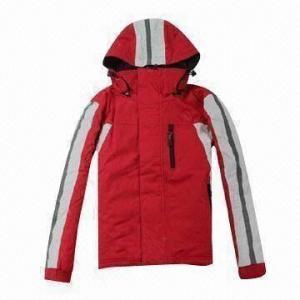 China PU-coated children's ski jacket with hood, waterproof and breathable wholesale