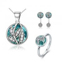 Authentic 925 Sterling Silver Jewelry Sets , Tree of Life Green Crystal Jewelry Sets