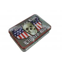 China Skull Shape USA Map Printed Metal Tin Cans Embossing Rolled Out Line wholesale