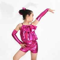 Metalic Fabric Kids Dance Clothes / Sparkle Dance Costumes With Big Bows